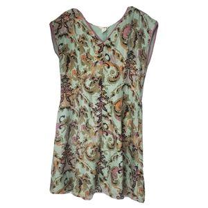 Sundance silk paisley floral dress size 14 mint